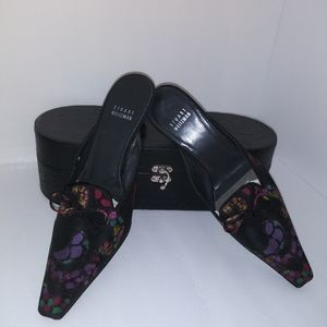 Stuart Weitzman Black & Multi Colored Mules Size 8
